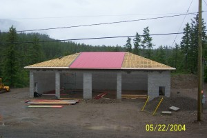 Community Constructed fire hall for Shorts Creek area.